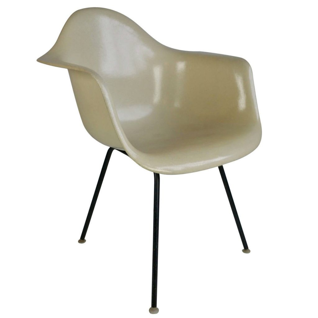 Charles Eames Parchment Arm Shell Chair,