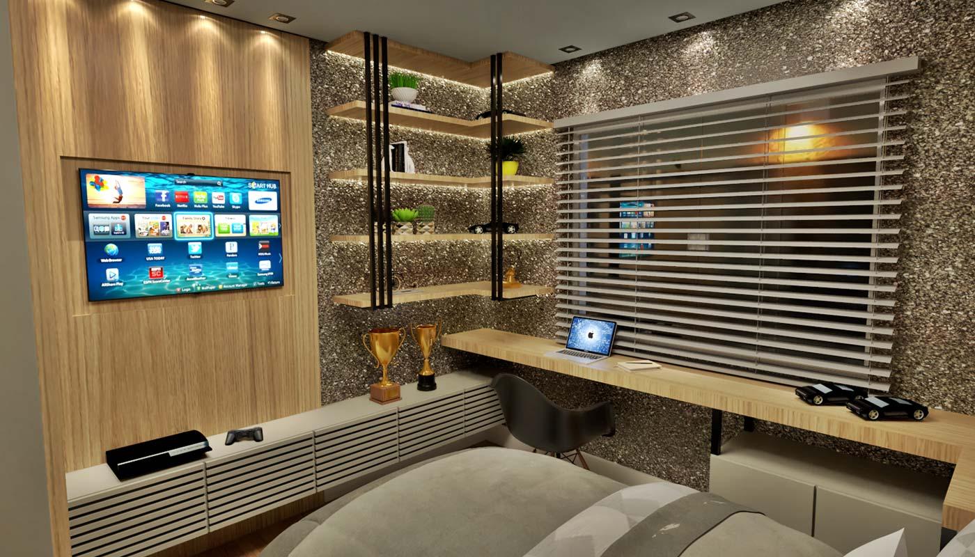 Exemplo de iluminação sala e escritório