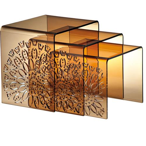 conjunto de mesas em acrílico